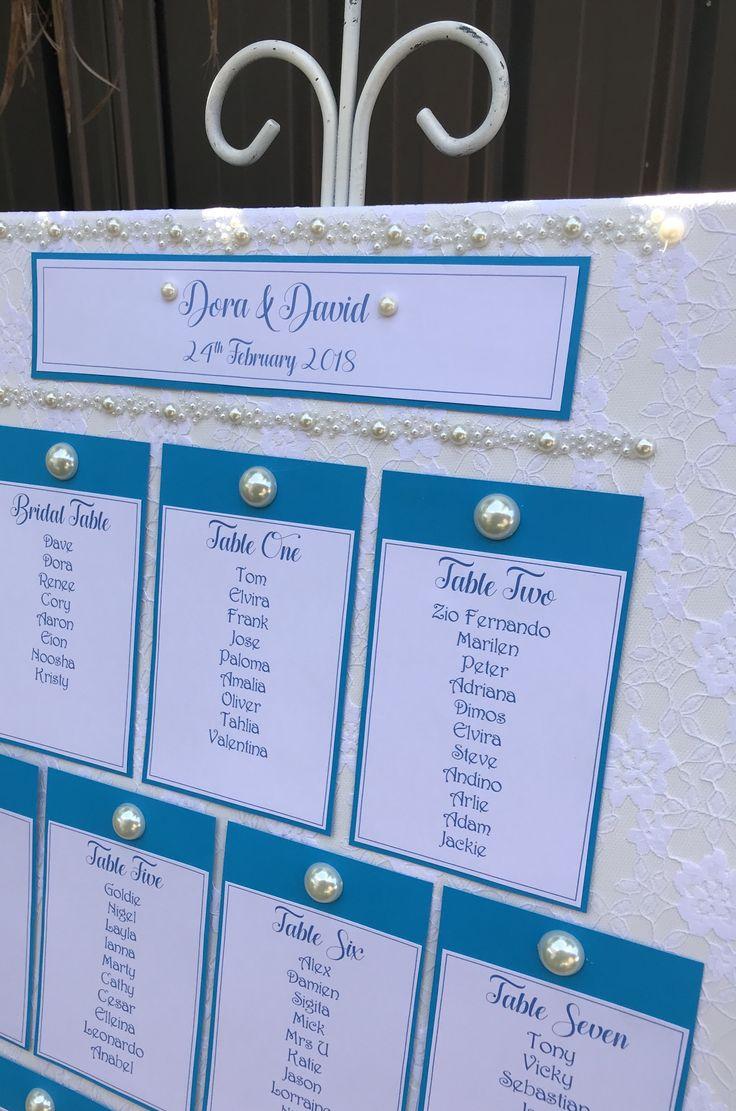 Aqua blue and pearl seating plan