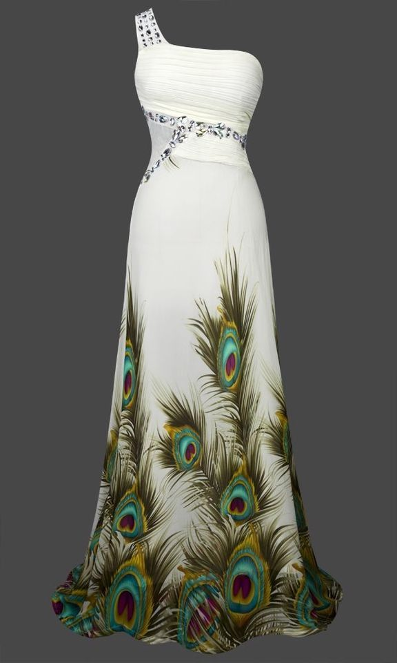 Unique Peacock Rhinestone Maxi Evening Gown Prom Dress S M L XL 18 Green