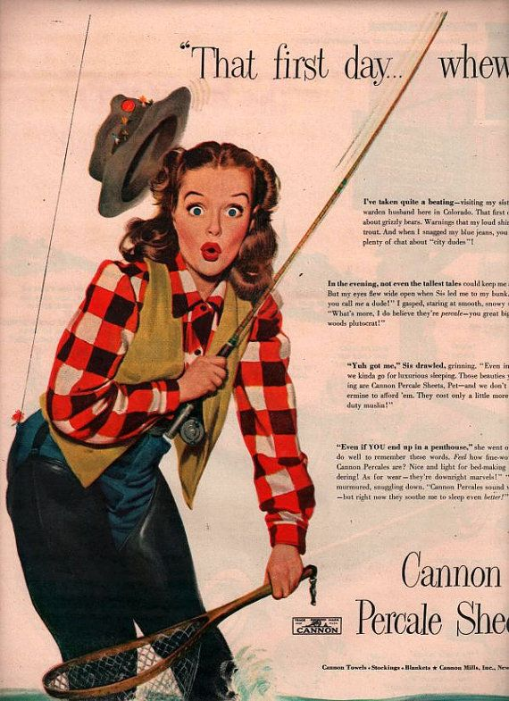 vintage pinup fly fishing 1948 advertisement by FrenchFrouFrou, $24.95