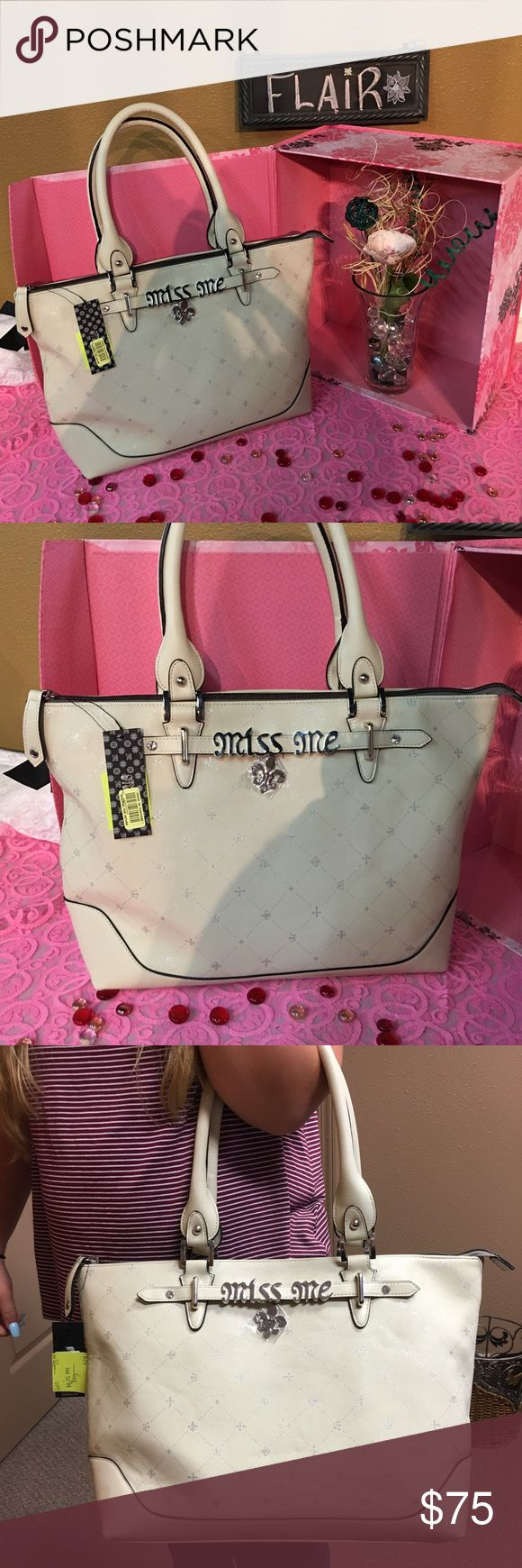 Miss me purse Large miss me purse patent leather ivory colored with silver hardware! Super cute NWT Miss Me Bags Shoulder Bags