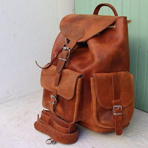 Brown Leather Backpack, Handmade Backpack, Mens Backpack leather, Womens leather backpack ,leather rucksack ,sac a dos cuir tabac