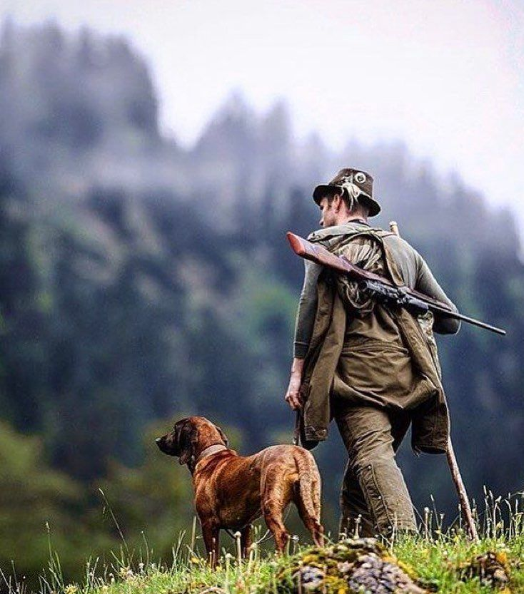 Рождение, картинка охотник с собакой