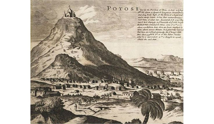 Cerro Rico de Potosí as depicted in 1715, a possible origin of the Sierra de la Plata myth.