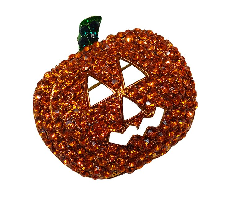 Jeweled jack-o-lantern pin and seasonal accessories, from $20. Coqui Boutique 703-413-5441