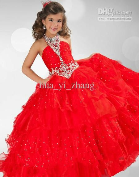 Red pageant dress for little girls