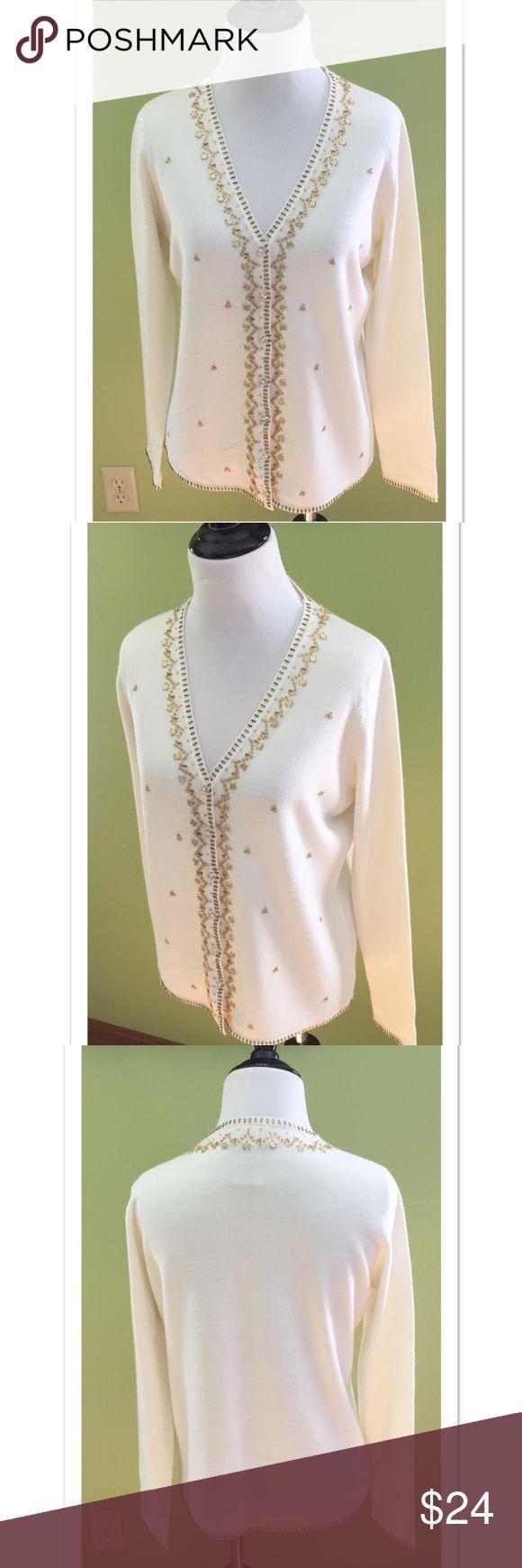 Selling this Designers Originals Gold bead + sequin  Cardigan on Poshmark! My username is: davias_closet. #shopmycloset #poshmark #fashion #shopping #style #forsale #Designers Originals #Sweaters