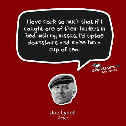 """I love Cork so much that if I caught one of their hurlers in bed with my missus, I'd tiptoe downstairs and make him a cup of tea."" – Joe Lynch (Actor)"