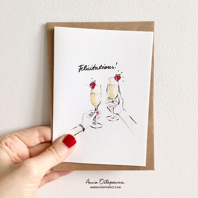 Felicitations post card, Illustration Anna Ostapowicz, #postcard, #french, #illustration, #champagne, #parisian