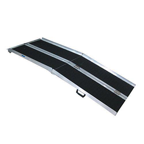 WORHAN® 1.83m Rampe Alu Pliable Valise Aluminium Pour Fauteuil Roulant Chargement Scooter Plate-Forme Aluminium Anodisé Fonction…