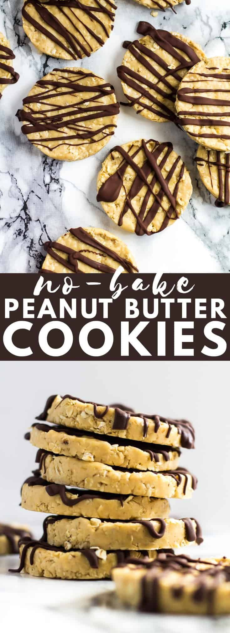 No-Bake Peanut Butter Cookies - These cookies are soft, creamy, loaded with peanut butter flavour, no-bake, and only require 4 simple ingredients to make!