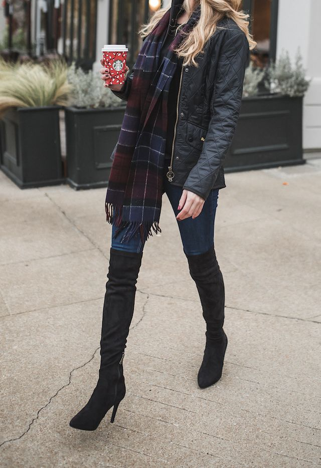 Barbour quilted jacket, plaid scarf, skinny jeans, and black suede over the knee boots