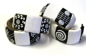 Pen and Ink on Polymer Clay bracelet blanks