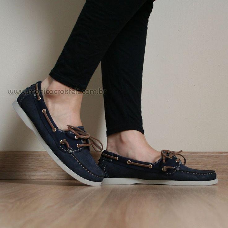 Sapato Mocassim Dockside Feminino Conforto Drive Azul Marinho Couro Legítimo Alto Luxo #retro #vintage #basico #classico #baixo #sapatilha #mulher