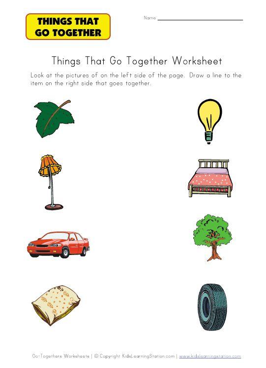 matching go togethers worksheet
