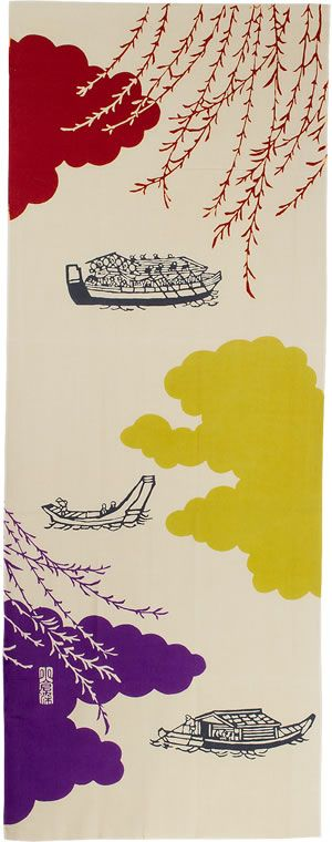 Japanese Tenugui (wash cloth) by Mitsuko OGURA 大川舟遊び