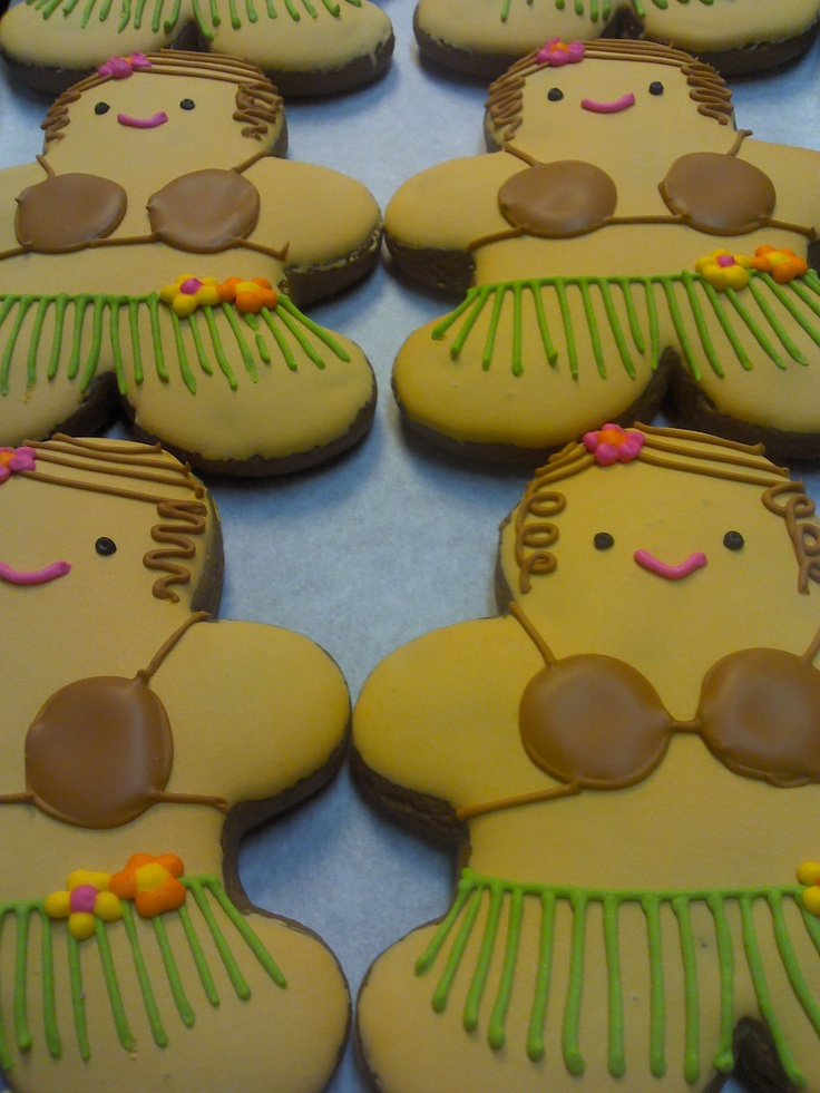 hula girl cookies!!!! look like gingerbread man cutter and decorated to be hula girls?! genius!