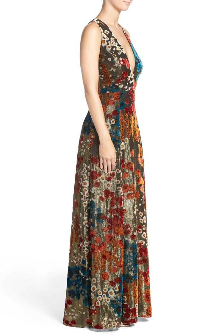 Main Image - Aidan Mattox Burnout Velvet Gown