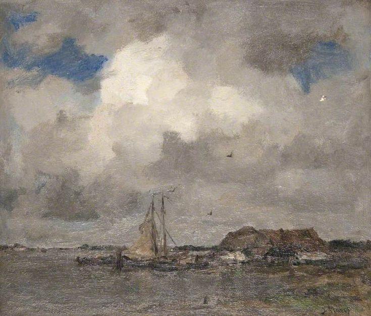 Jacob Maris - Riviergezicht met zwaar bewolkte weer