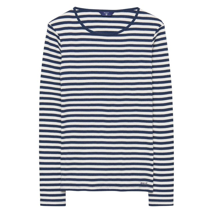 GANT - Striped Rib T-shirt Indigo Blue