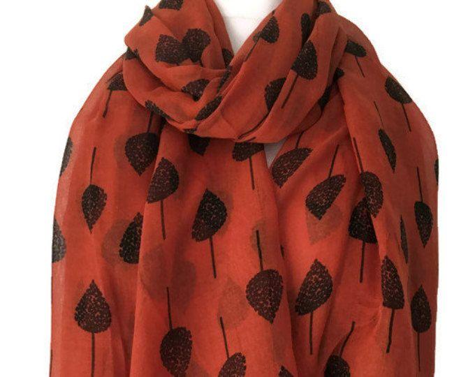 Bufanda naranja con un pareo de la impresión del árbol, las señoras árboles abrigo chal,