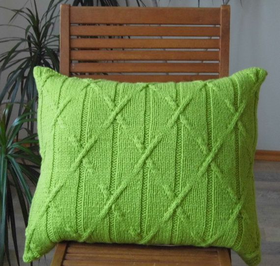 Hand Knit Large Cable Pillow cushion Light Green Wool. by ELITAI