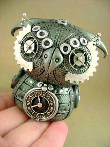 Mechanical Owls - POTTERY, CERAMICS, POLYMER CLAY  -  by monsterkookies