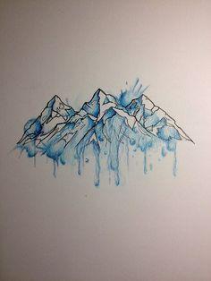 Znalezione obrazy dla zapytania watercolor mountain tattoo