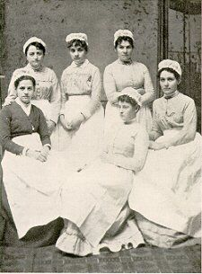 Hospital Training School, 1884..training consisted of washing dishes, sweeping and lessons on bedmaking, then feeding patients, brushing out the beds with a whisk broom, fluffing pillows, and bathing patient's backs with alcohol.