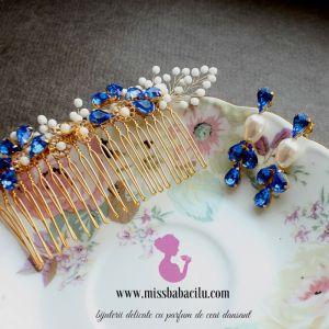miss babacilu, visia, cercei cu cristale albastre, cercei pentru mirese, pieptan pentru mirese,