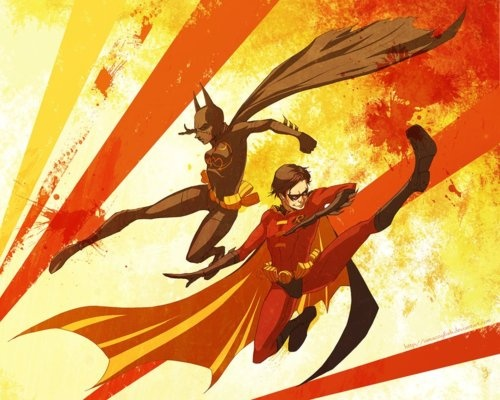 Robin and Batgirl in Action