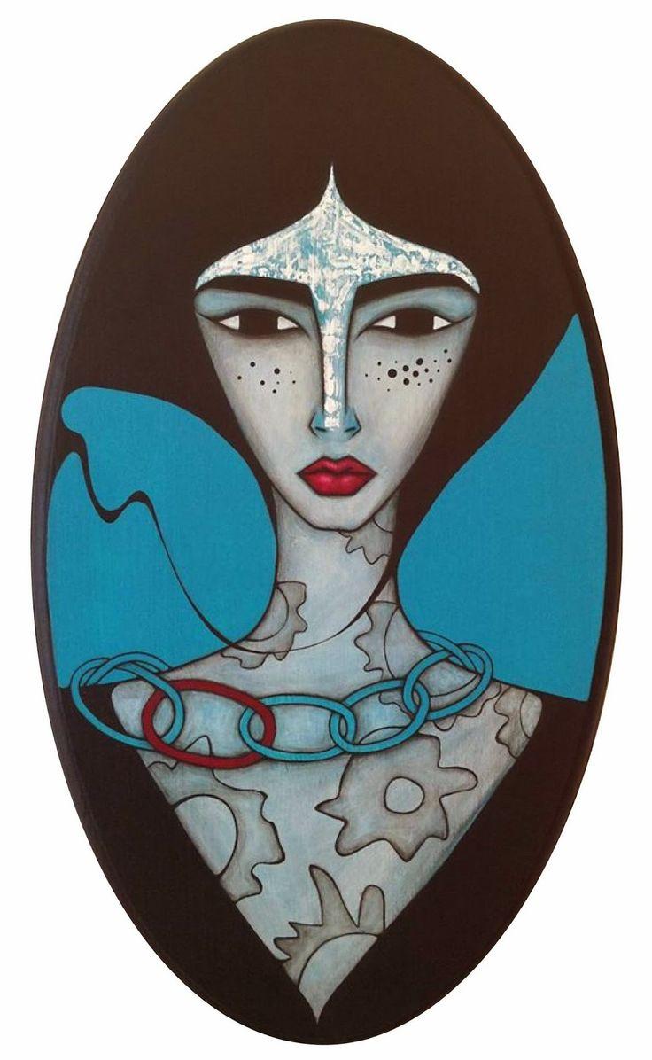 """Sandra Mucciardi : Oval painting... 19.5"""" x 11.5"""" -  Acrylic on wood.... www.sandramucciardi.com"""