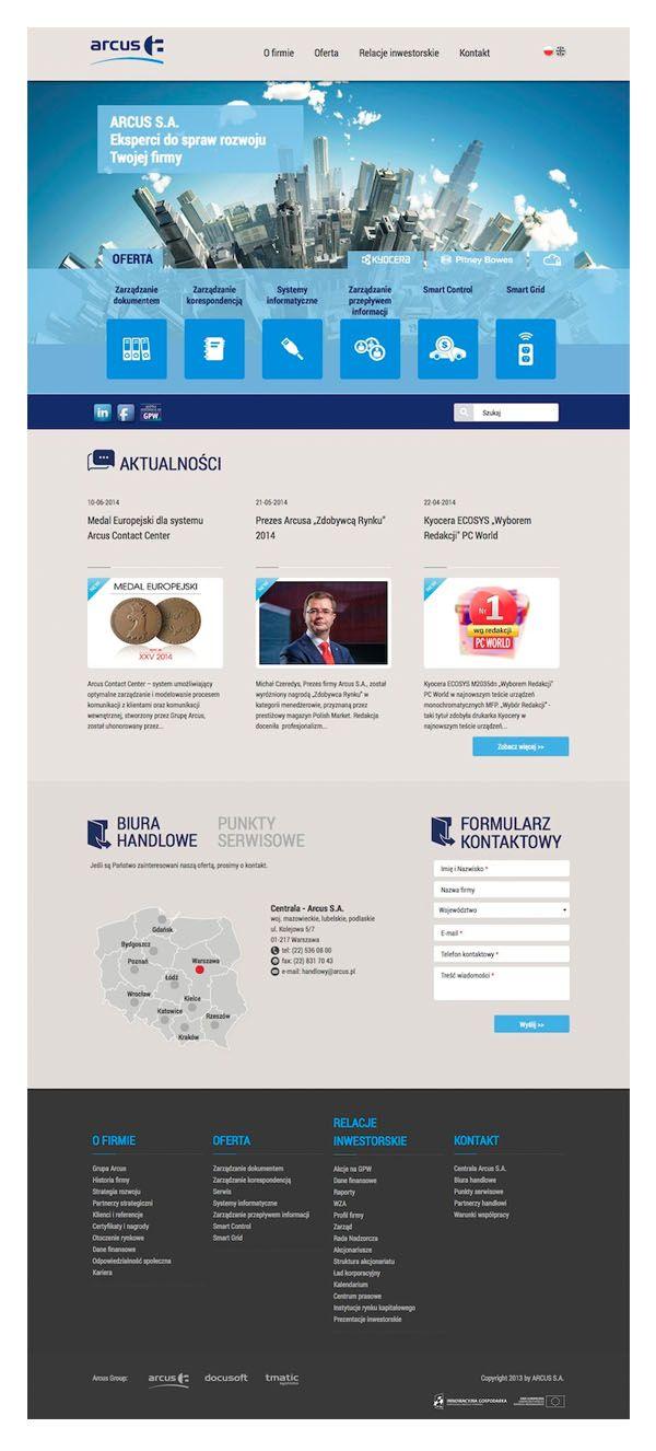 http://arcus.pl to nowy serwis korporacyjny, który przygotowaliśmy dla Grupy Kapitałowej ARCUS SA