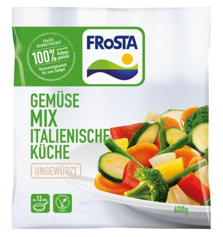 FRoSTA Tiefkühlkost: Gemüse Mix Italienische Küche -  Zucchini Prinzessbohnen Karotten roter Paprika Brokkoli gelber Paprika Zwiebeln