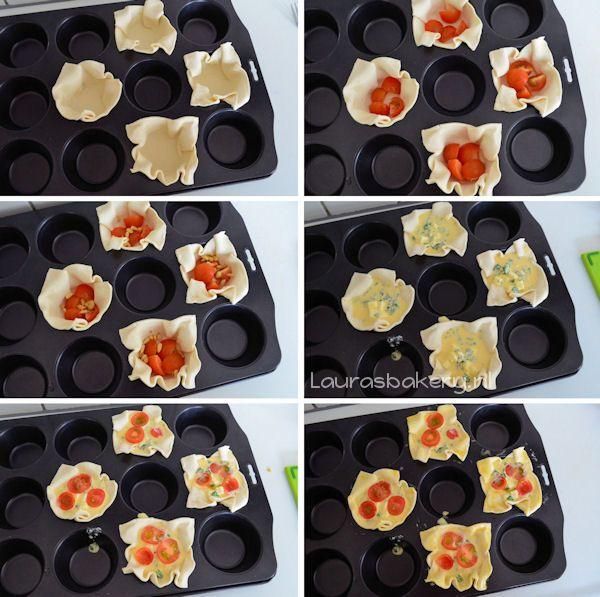 Ga ik eens in de airfryer maken (proberen met: 180gr. 150 min.) Mini Caprese Quiches - Laura's Bakery