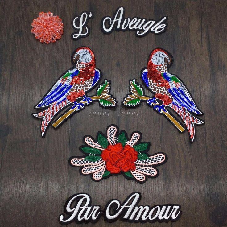 Lovertjes papegaai vogel bloem patch mode vintage borduurwerk applique Jas trui doek decoratie patch kledingstuk accessoires in  Size (Ca ox ): 15*13.5 cm      kleur: weergegeven als foto      deze lijst is voor een set . meer in voorraad   ------- van patches op AliExpress.com | Alibaba Groep