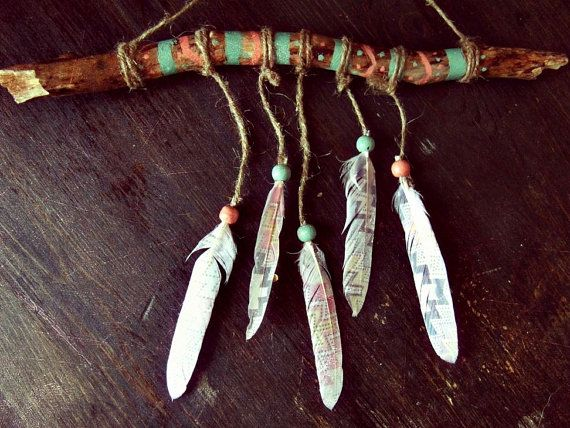 Aztec wooden mobile with handpainted driftwood, feathers (with various print, might be different then on pics, but still lovely and very boho), wooden beads  Bohemian triba... #handmade #etsy #craft