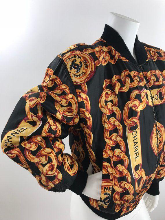 64efd405ef01ce Vintage 80s Faux Chanel Print Bomber  Hip Hop Gold Chains Bomber Jacket Vintage  Novelty Silk Bomber Jacket Designer Print Windbreaker