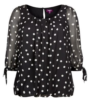 Inspire Black Polka Dot Chiffon Blouse - Tops - Inspire - Plus Sizes | New Look