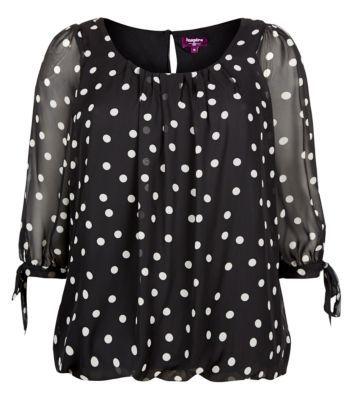 Inspire Black Polka Dot Chiffon Blouse - Tops - Inspire - Plus Sizes | New Look