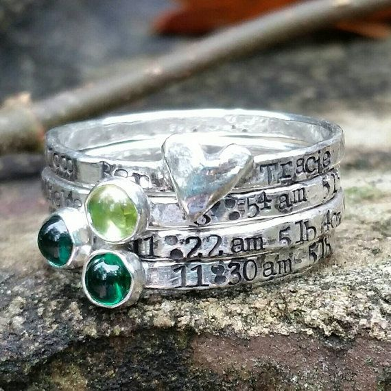 The perfect set of rings for a mother to be, seasoned mom, or grandmorher.  -The 1st band in the set is my signature heart band. Personalization