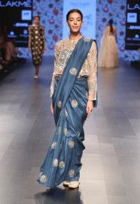 Teal blue embroidered saree and stone colour blouse set