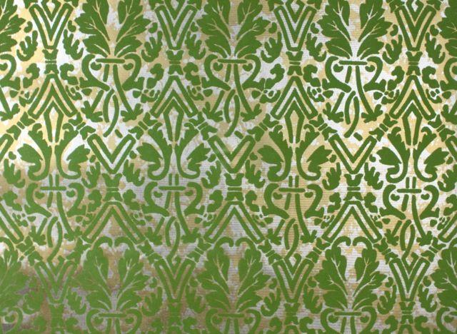 Vintage flocked wallpaper green and gold damask for Flock wallpaper
