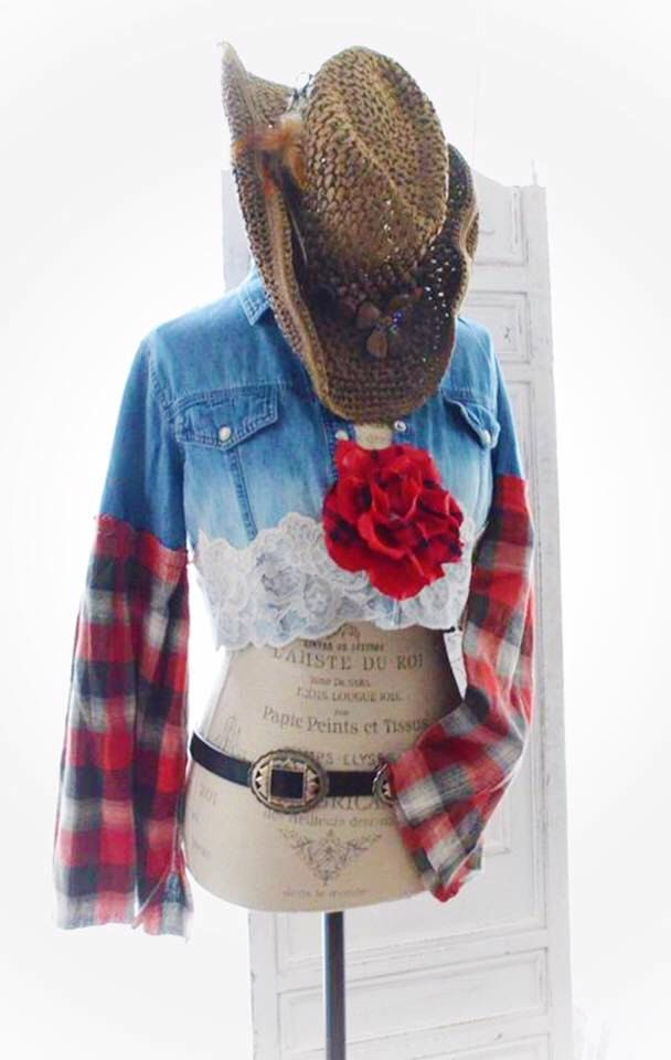 Exceptional French Country Clothing Part - 3: Country Girl Fall Flannel Crop Top, French Country Lace Denim Shirt, Boho  Chic Fall Clothing, Romantic Shabby Top, True Rebel Clothing M