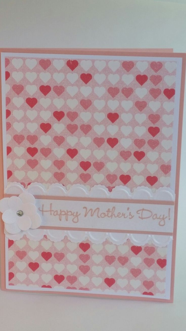 Flower framelits embossed scallop edge happy mother's day handmade card pink hearts