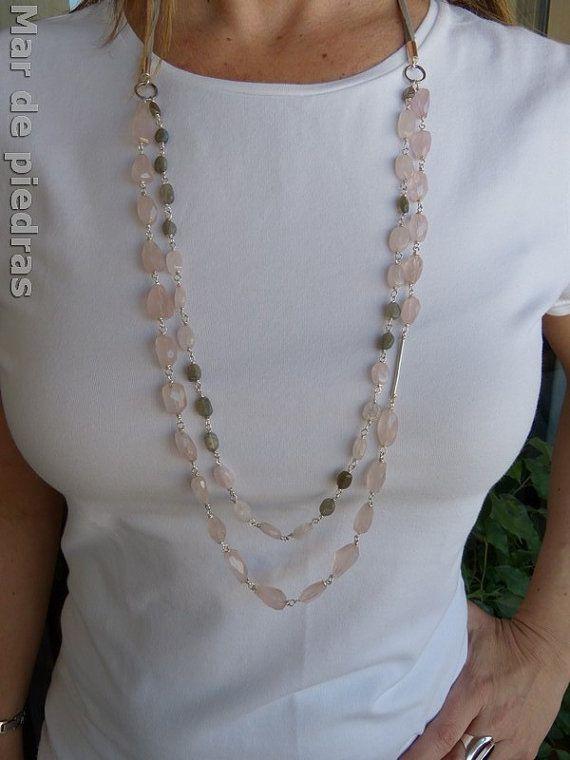 Collar largo de plata cuarzo rosa y labradorita por MardePiedras