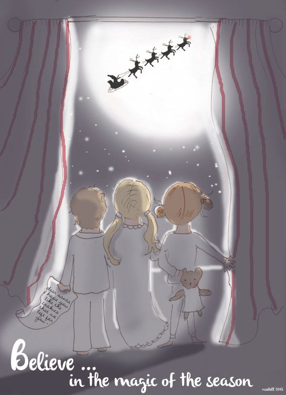 Childrens Wall Art Print - Believe in the Magic- 8x10 Christmas Art - Twas the night before Christmas -