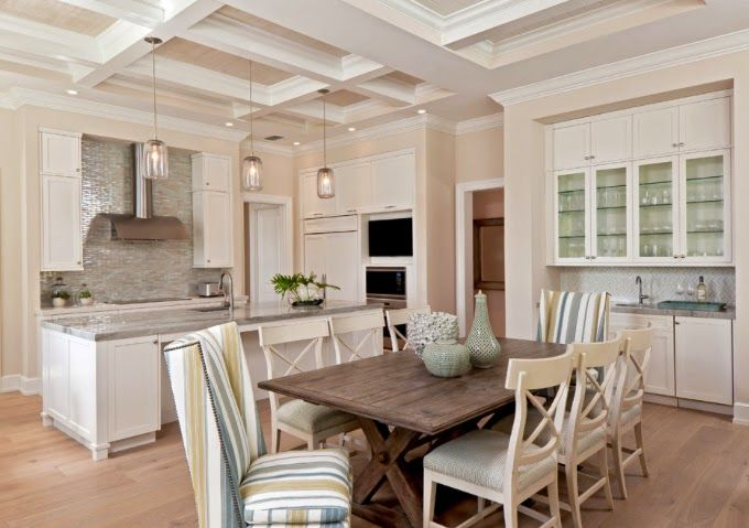 Same lovely kitchen, different view. Lovely details: backsplash tile, white + stone + stainless steel finishes. Excellent coffered ceiling. House of Turquoise.