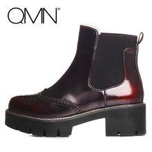 QMN Véritable En Cuir Femmes Cheville Bottes Femmes Moto Bottes Plate-Forme Richelieu Chaussures Femme En Cuir Chelsea Bottes Botas 34-39(China (Mainland))