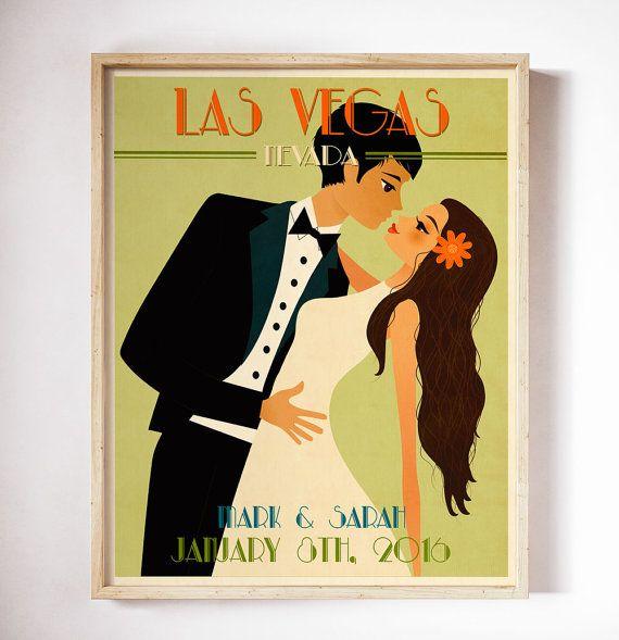 Wedding Gift Vintage Wedding Poster Retro Wedding by CherimoyaArt