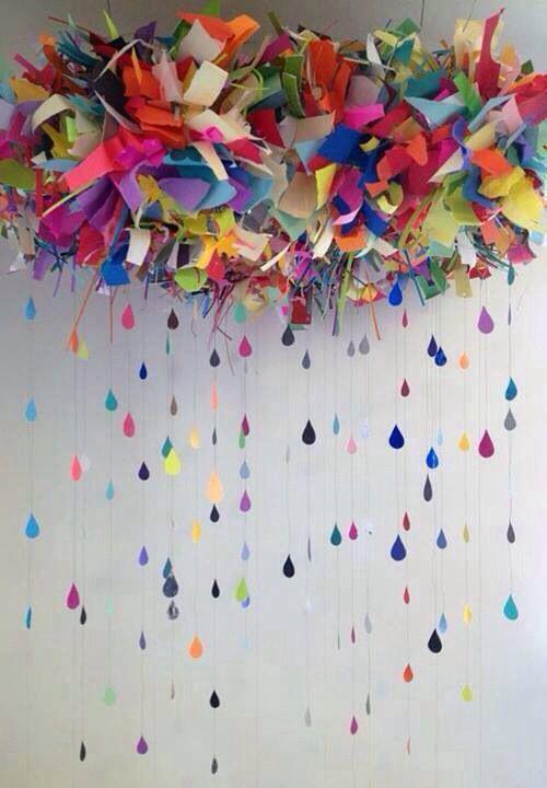 Colorful Rain Cloud and Rain Drops